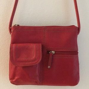 Tignanello Red Leather Crossbody / shoulder bag